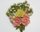 VIntage Seashell Flower Bouquet Brooch Pink & Yellow Roses