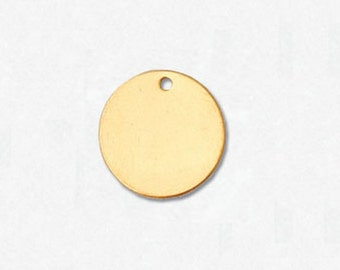 14K Gold Filled Charm Round Disc 11mm w/ Hole - 1 Piece