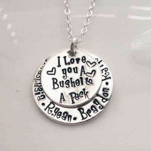 I Love You A Bushel And A Peck Necklace Stacking Childs Name
