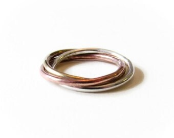 Mixed Metal, Russian Wedding Ring,Copper, Brass, Silver, Intertwined Ring