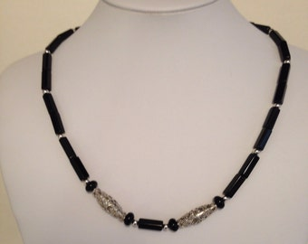 Men's Sterling Silver Black Gemstone Necklace