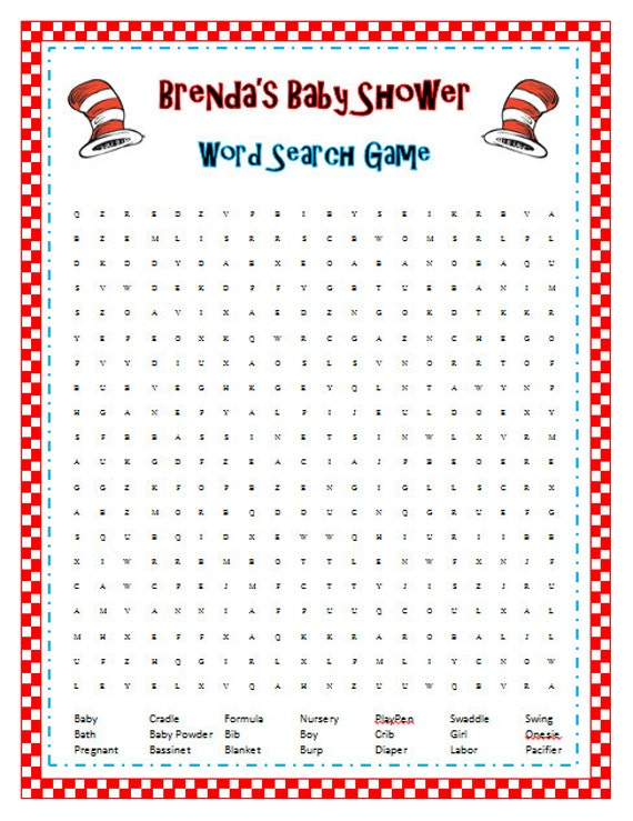 Dr Seuss Baby Shower Sprinkle Party Word Search Seek and Find Game ...
