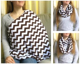 Nursing Scarf / Infinity Scarf / Nursing Cover / Breastfeeding Cover - Pretty Brown Chevrons Jersey Knit