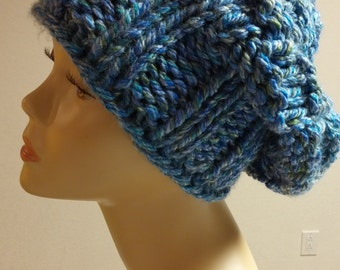 Blue Mix Chunky Knit Slouchy Winter Hat