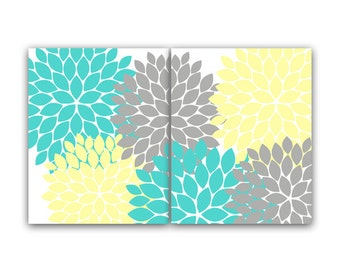 Yellow And Gray Wall Decor home decor wall art instant download coral and navy flower