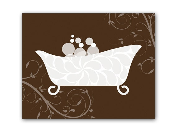 Wall Decor For Brown Furniture : Bathroom wall art brown decor instant download