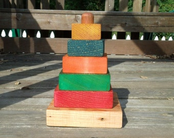 Handmade, eco-friendly, rainbow wooden stacking toy (Squares)
