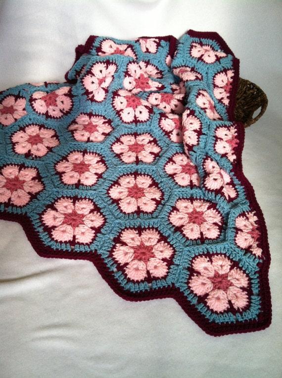 African Flower Crochet Baby Blanket Pattern : Items similar to Baby Girl/Toddler/Child Crochet Blanket ...