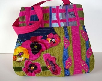 Unique Hand collaged bag from recycled fabrics