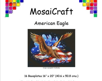 MosaiCraft Pixel Craft Mosaic Art Kit 'American Eagle' (Like  Mini Mosaic and Paint by Numbers)