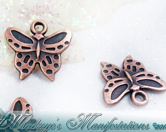 Antiqued Copper Finish Butterfly Charms 16x15mm