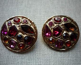 Vintage Large Round Guy Laroche Paris Swarovski Crystal Gold Tone Clip On Earrings
