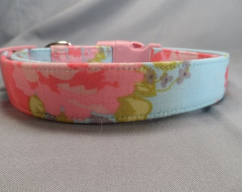 Watercolor Roses on Baby Blue Dog Collar