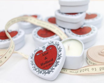 Heart wedding favours, Personalised Scented Candle. Winter wedding. Spring wedding. Summer Wedding. Listing is for 50 favours
