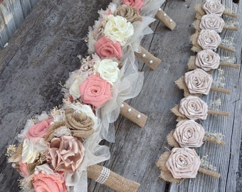 Beautiful peach burlap and champagne silk wedding bouquets(listing is for one bridal bouquet)