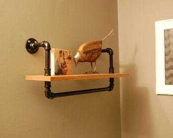 Industrial Shelf - Pipe Shelf, Wood Shelf