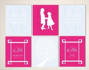 Sisters room decor, sisters wall art, girls wall art,  big sister, little sister, motivational art, monogram print, Set of 6