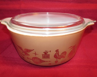 Pyrex EARLY AMERICAN Casserole Baking Dish 475B with Lid