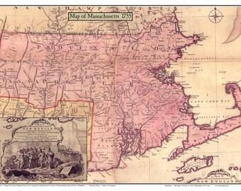 Massachusetts, Connecticut, & Rhode Island 1755 by Jeffreys    Reprint