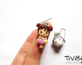 My neighbor Totoro earrings, Mei and Totoro Charm earrings, Studio ghibli jewelry, polymer clay charms, Chibi Mei and Totoro, Cute Totoro