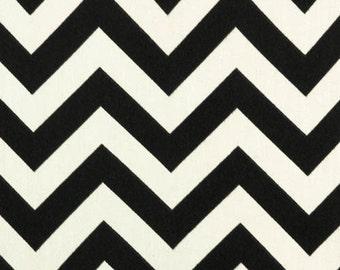 Fabric by the Yard - Indoor / Outdoor - Black Ebony & Ivory Zig Zag / Chevron