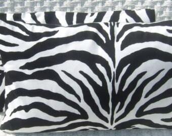 Set of 2 - Black  & White Zebra Print  Indoor / Outdoor  Rectangle / Lumbar Throw Pillows