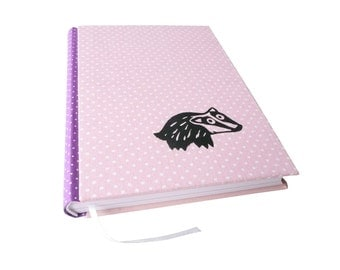 Badger, A5 notebook, bound and printed by hand