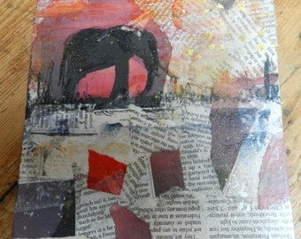 Hand-made card, cardboard and paper. and watercolor. Elephant 2