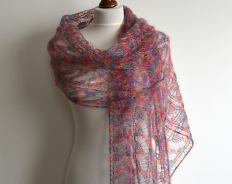 Sale - Lace shawl - Hand knitted multicolor scarf - rectangular - mohair - handmade