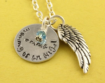 Mommy of an Angel Necklace - Memorial Necklace - Birthstone Necklace - Miscarriage Necklace - Pregnancy Loss Necklace - Rainbow Baby Gift