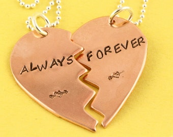 Always and Forever Necklaces - Broken Heart Necklaces - Copper Heart Necklaces - Best Friends Gift -BFF Heart Necklace-Best Friends Necklace