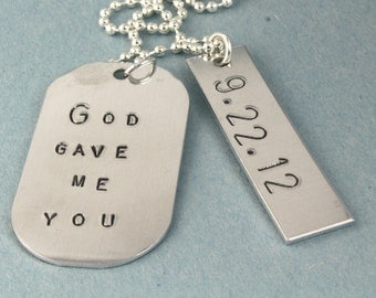 God Gave Me You Necklace - Father's Day Gift for Dad - Anniversary Necklace - Custom Men's Necklace - Personalized Necklace - Date Necklace