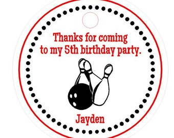 Bowling Party Favors Personalized Boys / Girls Birthday Gift Hang Tags Supplies
