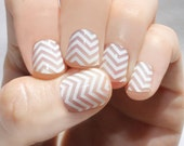 White Chevron Transparent Nail Wraps
