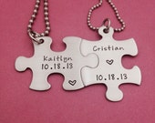 Puzzle Piece Name and Date Necklace Set - Hand Stamped Stainless Steel Wedding Anniversary Gift
