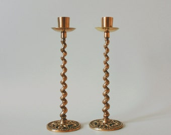 Brass Curled Candle Holders