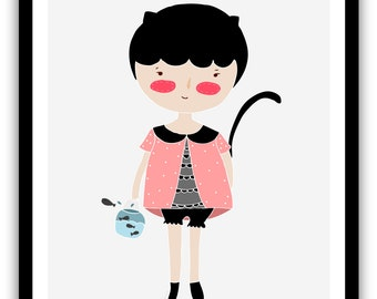 Print- Kitty and Fish-