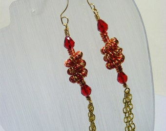 Red and Gold Coil Earrings