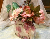 Glass Purse Floral in Dusty Rose, Spring Flower Arrangement, Rose, Pink, Burgundy