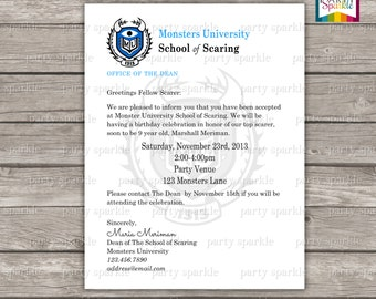 PRINTABLE Monster University Acceptance Letter Invitation - Personalized Digital Invitation 8.5x11 .pdf