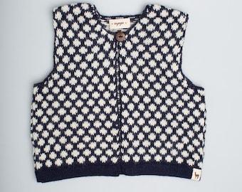 Polka dot vest 3-6 months size Baby alpaca wool girl vest navy blue white jacquard pattern vest girl toddler baby top knit vest baby gift