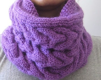 Knit Purple Scarf. Chunky Scarf. Winter Scarf. Gift Idea.