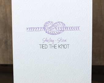 Personalised Tied The Knot Wedding Card