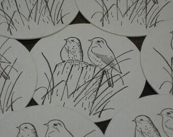 Custom Letterpress Coasters Birds  - Letterpress - Coaster Sets - Housewares - Drink Coasters - Custom Coasters - Stocking Stuffers