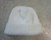 White Baby Hat, White Roll-brim Baby Hat, White recieving hat, White Baby beanie