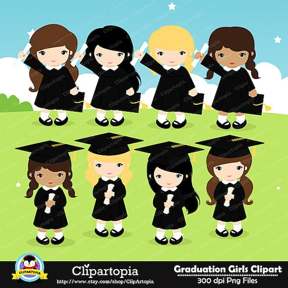 Art Girls Virtual Preschool: GRADUATION GIRLS Digital Clipart, Preschool, Kindergarten