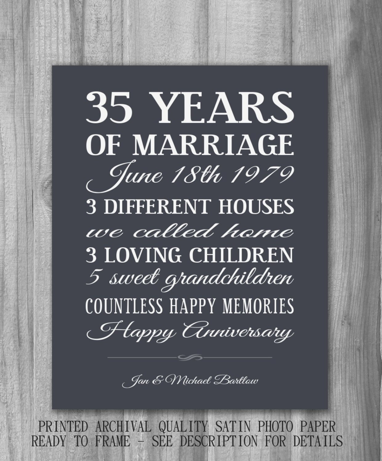 35 Wedding Anniversary Gift Ideas For Parents : Personalized Anniversary Gift Important Dates Unique CUSTOM