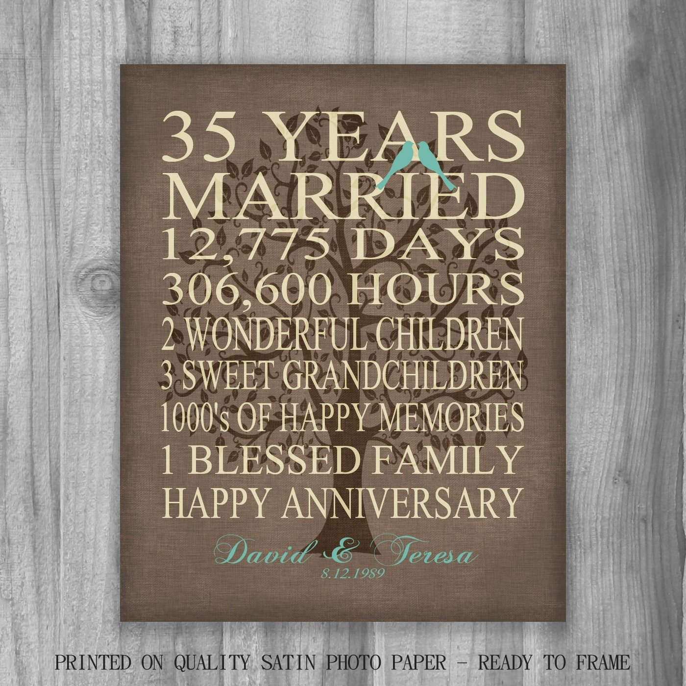 35th year anniversary gift rustic burlap look personalized