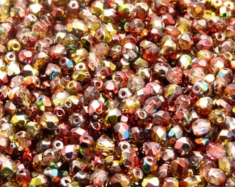 100pcs Czech Fire-Polished Faceted Glass Beads Round 4mm Magic Red-Yellow (4FP018)