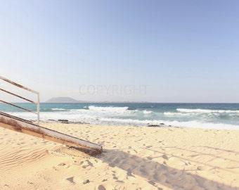 Beach Time - Fine Art Photography Print - 8x8 8x10 8x12 - Photography - sand summer beige blue sea seaside sunny sunshine